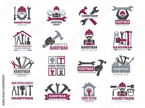 Obraz Handyman badges. Builders and workers contractor symbols technicians vector logotypes for handyman. Illustration carpenter handyman logo and emblem - fototapety do salonu