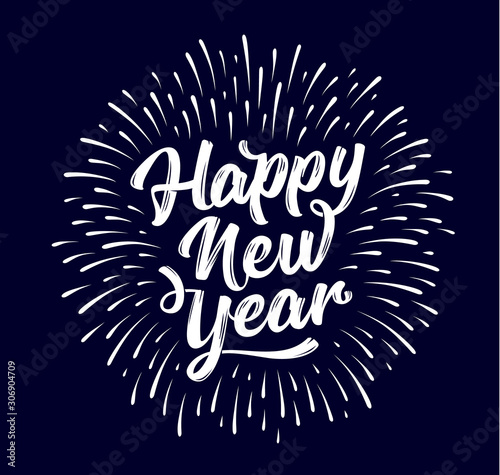 Happy New Year. Lettering text for Happy New Year Fototapet