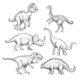 Fototapeta Dinusie - Dinosaur. Paleontology exhibition collection herbivorous extinction dinosaurs in action poses hand drawn vector. Jurassic prehistoric reptile, triceratops lizard, dragon danger wild illustration