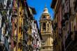 Leinwandbild Motiv Rue colorée de Pampelune en Espagne avec ses façades colorées