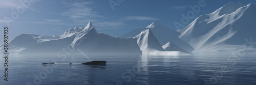 Valokuva Sea and ice, whale in the Arctic Ocean. 3d rendering.