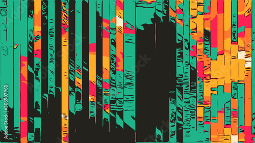 Abstract geometric background with colorful strips in 1970s style Canvas Print