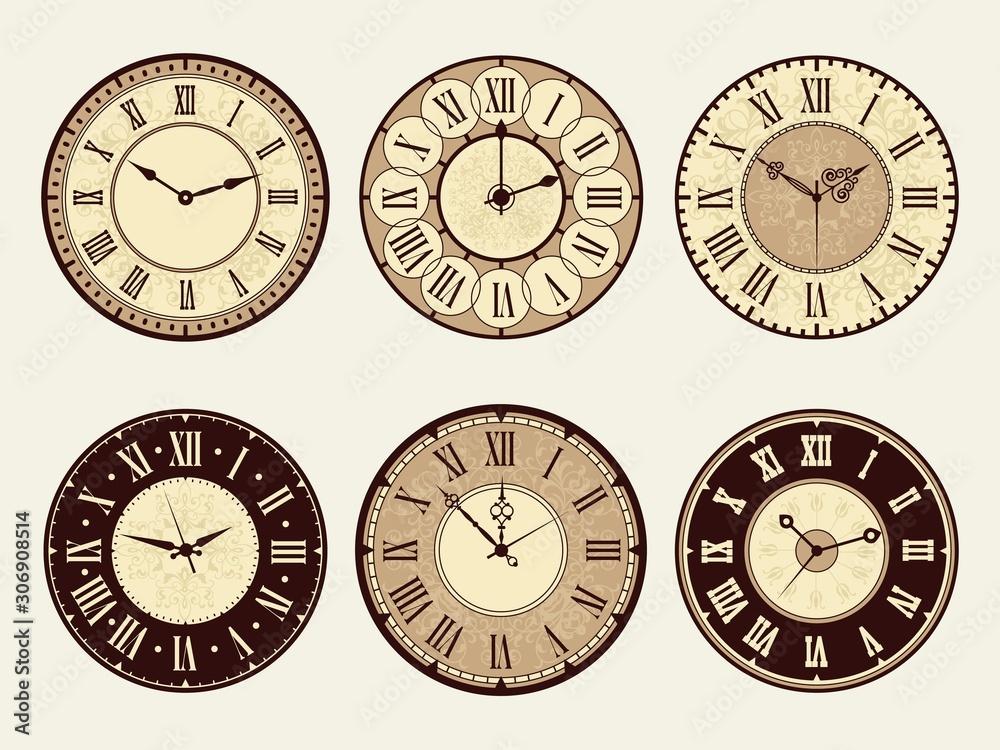 Fototapeta Vintage clock. Elegant antique metal watches vector illustrations. Minute and number clock face, roman or classic