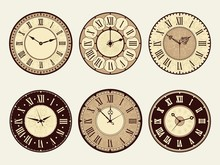 Vintage Clock. Elegant Antique Metal Watches Vector Illustrations. Minute And Number Clock Face, Roman Or Classic