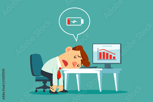 Vászonkép frustrated businessman at office desk with low battery icon