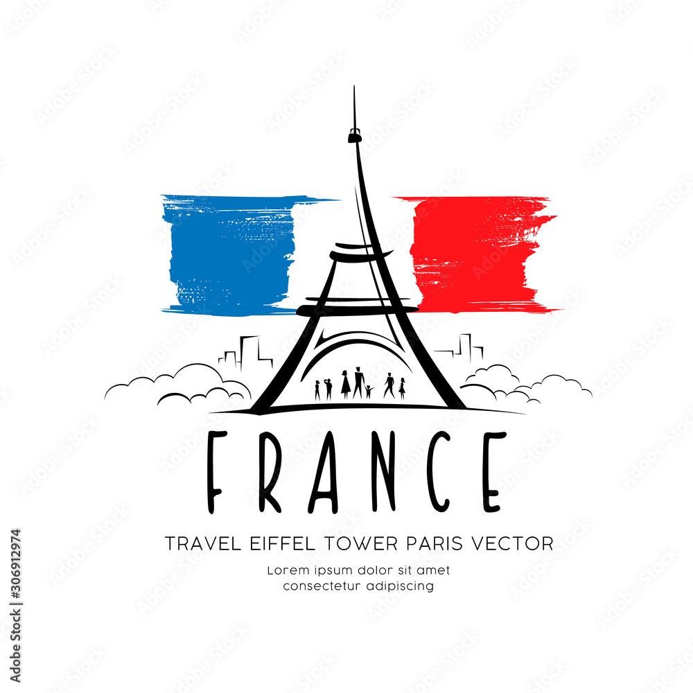 Fototapeta Eiffel tower flag of france sketching vector design background, illustration
