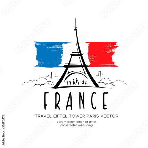 Obraz Eiffel tower flag of france sketching vector design background, illustration - fototapety do salonu
