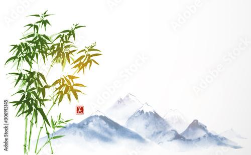 Obraz na płótnie Niebieskie góry i zielona ręka bambusa rysowane tuszem