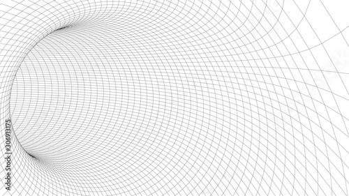 Vector illustration. 3D corridor mesh. Frame tunnel. Canvas Print