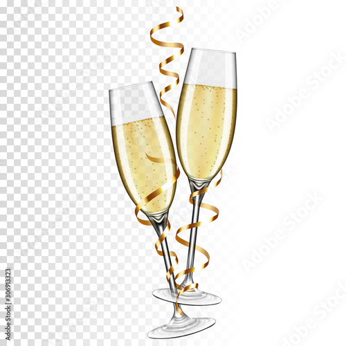 Fotografía Two glasses of champagne with ribbon, isolated on transparent background