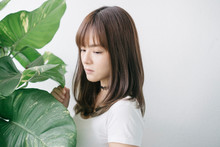Young Asian Woman Hiding Behind Large Money Plant Leaf