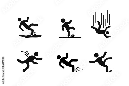 Fototapeta Set of Caution symbols with figure man falling. Wet floor, tripping on stairs, fall down from ladder. Workplace safety obraz