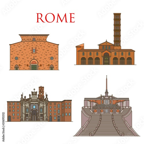 Rome travel landmarks, Italy architecture and famous sightseeing symbols Canvas Print