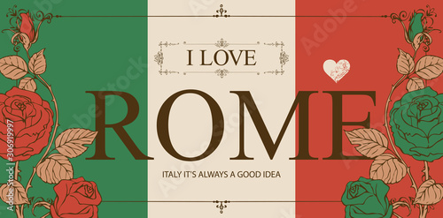 Vector card in the colors of the Italian flag in frame with curlicues in vintage style Wallpaper Mural
