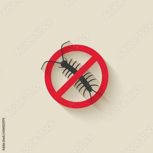 Centipede silhouette. Pest icon stop sign Fototapeta