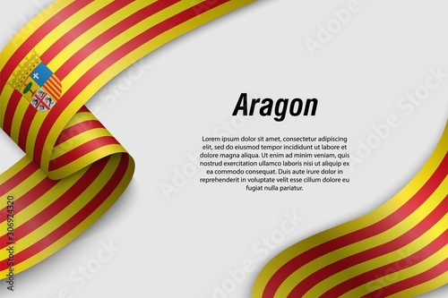 Photo Waving ribbon or banner with flag aragon. Communities of Spain