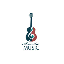 Emblem With Guitar For Acoustic Music Concert Isolated On White Background