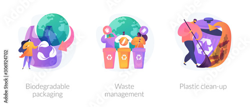 Obraz Garbage sorting and recycling icons set. Contamination of water bodies problem. Biodegradable packaging, waste management, plastic clean-up metaphors. Vector isolated concept metaphor illustrations - fototapety do salonu