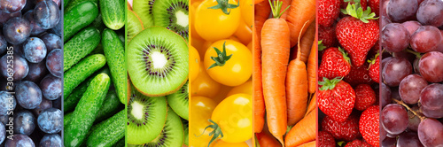 Background of fruits, vegetables and berries. Fresh color food. Healthy lifestyle