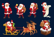 Santa Claus Vector Icons Of Christmas And New Year Design. Santa With Xmas Gifts, Bag And Red Hat, Reindeer Sleigh, Bell And Present Boxes, Fireplace Chimney, Deers, Sledge And Wish List Letter Scroll