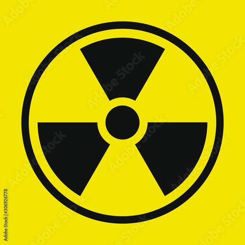 Yellow and black Radioactive radiation warning icon symbol shape Canvas Print