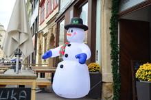 Inflatable Snowman On Plzen Street