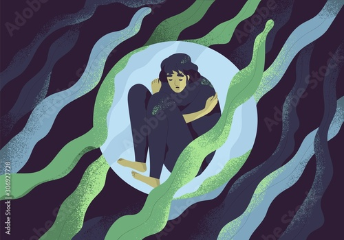 Obraz Depressed girl in bubble flat vector illustration. Lonely person in vacuum. Diffident woman in solitude. Isolation, loneliness concept. Lack of confidence, psychological problem, lostness. - fototapety do salonu