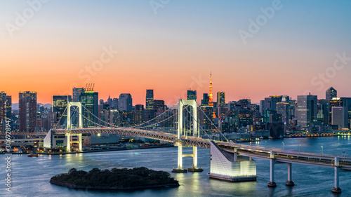 Fototapety, obrazy: Panorama beautiful view of Rainbow Bridge, Tokyo Tower and tokyo downtown skyline in evening pastel sky and twilight scene with cityscape at Odaiba Japan.