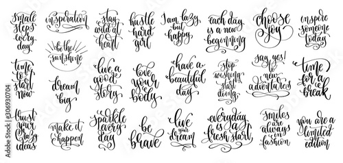 set of 25 hand lettering motivation and inspiration positive quote Fototapet