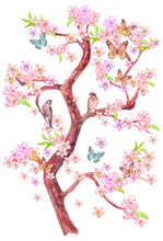 Flowering Tree Of Cherry With Sitting Couple Of Birds On Branches And Flying Butterflies Around. Watercolor Painting