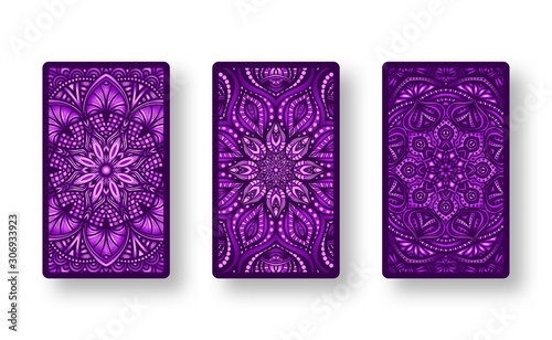 Floral stylized purple pattern. Collection back side of cards Canvas Print