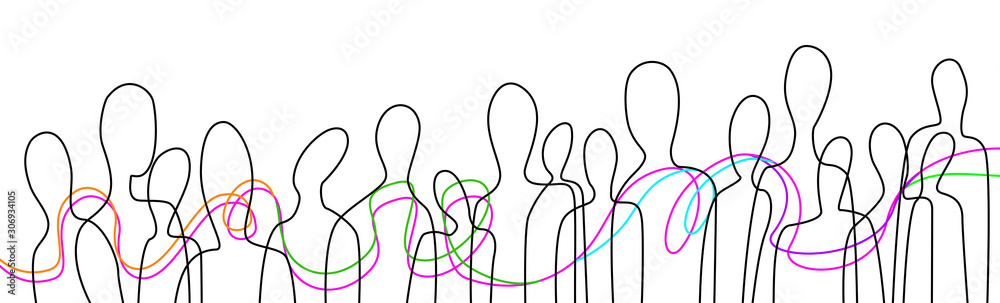 Fototapeta connect the people concept, crowd of people connected with colored lines, communication creative contemporary idea,