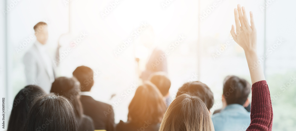 Fototapeta Asian Business,Event training Seminar Education Class, Meeting Room Conference With Team in Office Corporate, Young new Business Creative Asian Workshop Communication for Development, human resources.