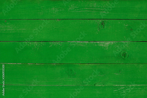 Bright green wooden painted background texture. Old plank backdrop. - 306935300