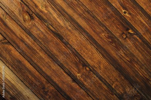 Rustic brown wood texture with natural patterns, diagonal. Natural backdrop.