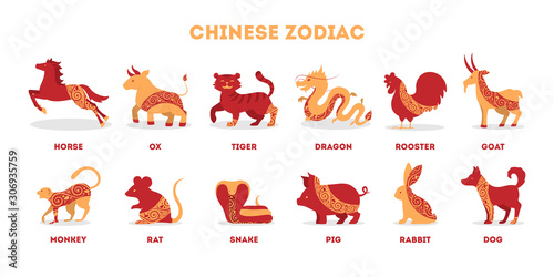 Traditional Chinese zodiac animals set. Isolated vector illustration