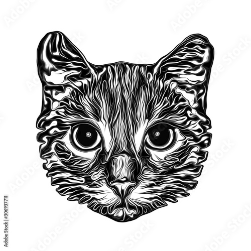 Cat head black and white illustration on white background, digital art