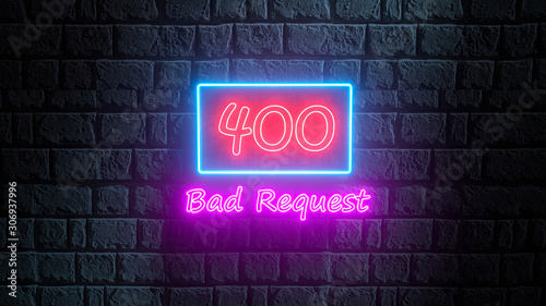 Fotografia  3d render of neon error 400 Bad Request on the brick wall at night