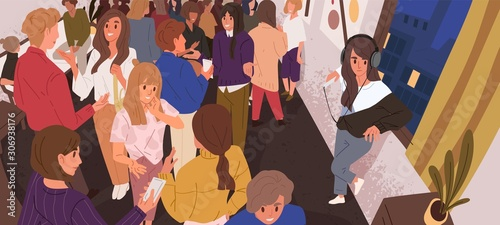 Discomfort in crowd flat vector illustration Canvas Print