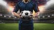 Leinwandbild Motiv The concept of playing football.soccer player with Football on soccer field.