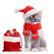 Kitten In Santa Claus Costume With A Bag Of Gifts