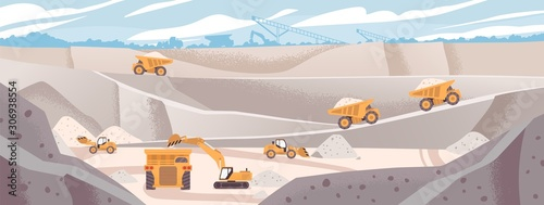 Obraz Quarry landscape flat vector illustration. Marble mining concept. Industrial machinery and transport. Excavators and dump trucks at opencast. Mine production, stone quarrying process. - fototapety do salonu