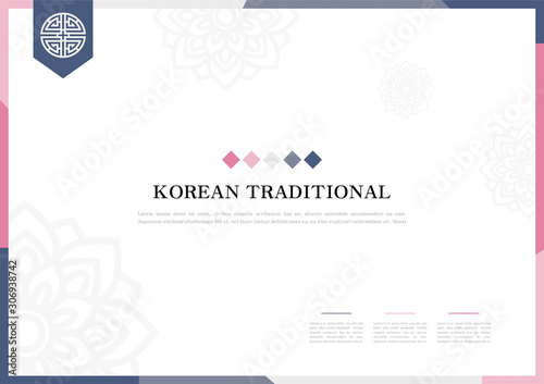 Template with Korean tradition pattern background. Canvas Print