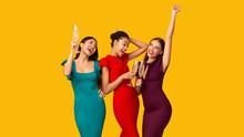 Three Girls Celebrating Drinki...