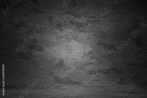 Dark gray vintage texture wall scratch blurred stain background. Marble design photo studio portrait backdrop, banner website soft light edge. 3D rendering