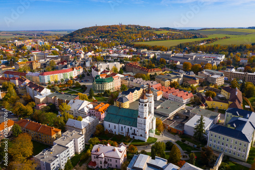 fototapeta na drzwi i meble Panoramic view from the drone on the city Krnov. Czech Republic