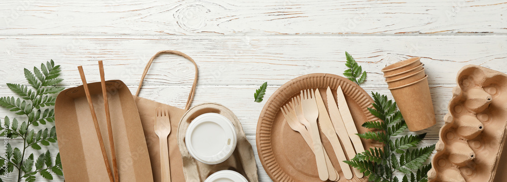 Fototapeta Concept with eco - friendly tableware and plant on wooden background, copy space