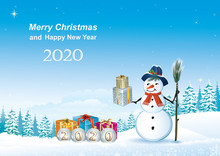 Happy New Year 2020.Greeting Card Snowman And Gifts On A Background Of Snowy Winter