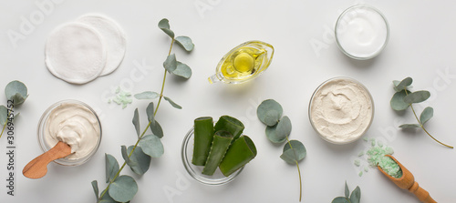 Fototapeta Eco cream products of aloe vera, olive oil and sea salt on white obraz