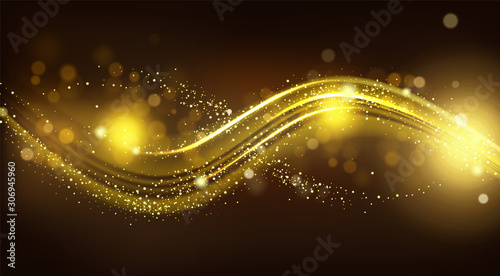 Obraz Gold sparkle wave on black blurred background. Shiny glittering glow magic stardust curve track line, design element for festive products or cosmetics advertising. Realistic 3d vector illustration - fototapety do salonu